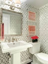 traditional powder room with interior wallpaper u0026 wall sconce