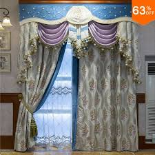 Nice Living Room Curtains Aliexpress Com Buy White With Grey Embroidery Patchwork Blue