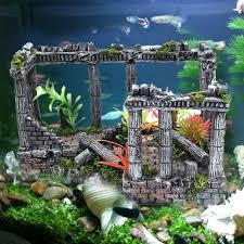 aquarium fish tank decorations antique roman column ruins