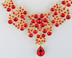 red necklace earring set images Fashion red flower rhinestone crystal chunky wedding bridal prom jpg