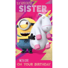 despicable me 3 minion sister birthday card danilo