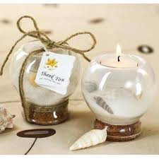 wedding candle favors sand and shell tealight holder