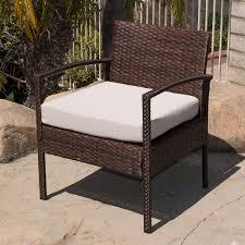 4pc rattan wicker patio furniture set sofa chair table cushioned