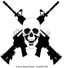 skull and guns vector a vector of a human skull with 2 stock