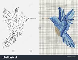 embroidery pattern blue bird sunbird black stock vector 676446208