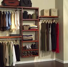 minimalist dressing room with hanging wall closet organizer