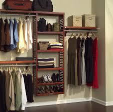 minimalist dressing room with hanging wall closet organizer