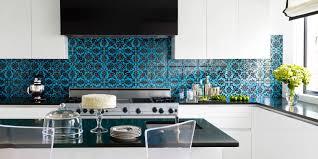 elegant kitchen backsplash ideas elegant kitchen backsplash ideas with blue patterned tiles and white