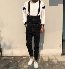 mens jumpsuit fashion summer preppy style fashion casual mens denim overalls