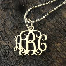 Personalized Monogram Necklace Small 0 72 Inch Monogram Necklace Silver Personalized Monogram