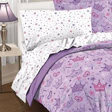 girls bed crown amazon com dream factory purple princess hearts and crowns girls