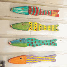 recycled wood fish wall set of 4