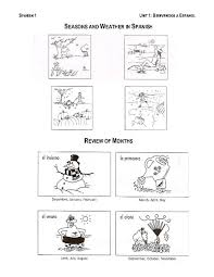 season and weather in spanish 7th 9th grade worksheet lesson