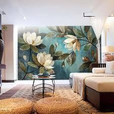 retro livingroom custom mural wallpaper european painting flowers retro livingroom tv