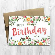 printed floral watercolor happy birthday mom 5x7 greeting card