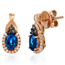 topaz earrings le vian oval cut blue topaz chocolate diamond earrings