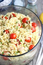 What Is Pasta Salad Lemon Orzo Pasta Salad With Basil Almonds White Beans