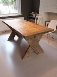 chunky wood table legs reclaimed wood dining table with cross x legs made to measure hand