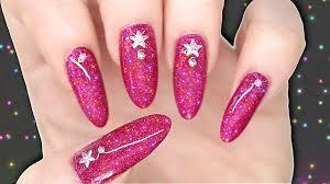 diy gel polish effect nails pink holographic glitter nailart