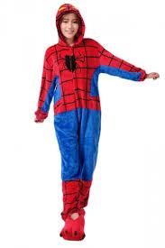 red fashion womens flannel spiderman halloween jumpsuit costume