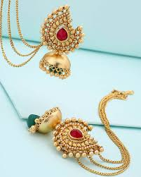 jhumka earrings traditional women s jhumka earrings with dainty chain buy