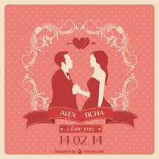 Red Wedding Invitations Red Wedding Invitation With A Couple In Love Vector Free Download