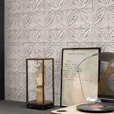 Trompe L Oeil Wallpaper by White Medallion Tin Tiles Wallpaper Koziel Fr