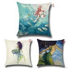 sale european and american modern mermaid painting home pillow