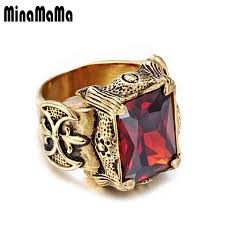 big crystal rings images Men 39 s jewelry stainless steel seal style gold color shining big jpg