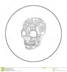 mexican calavera skull icon in outline style isolated on white