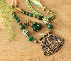 gold green necklace images Lakshmi maa green stone necklace earrings set online in india azilaa jpg