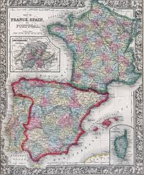 The Map Of Spain by Antique Map Of Spain France And Portugal From 19th Century Atlas