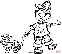 boy playing with his toy truck coloring page free printable