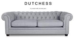 dutchess 3 seater chesterfield fabric sofa stone grey addition