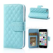 light blue iphone 5c case rhombus pattern leather wallet case for iphone 5c baby blue