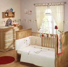 Toddler Boy Bedroom Ideas White Polished Wooden Crib And Brown Velvet Upholstered Arm Chair