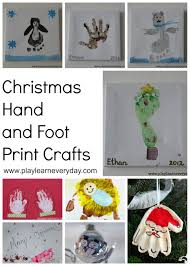 christmas hand and foot print crafts christmas gifts and craft