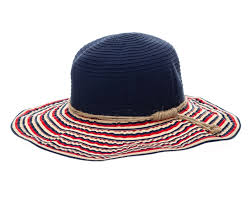 white and blue ribbon wholesale packable hats ribbon travel hat white blue