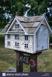 mailbox in the shape of a small house stock photo casas buzón