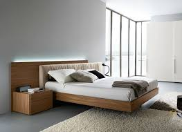 Italian Contemporary Bedroom Sets - walnut italian modern platform bed with extra long headboard