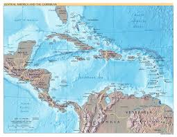 Map Of America And Cities by Large Detailed Political Map Of Central America And The Caribbean