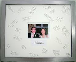 wedding autograph frame personalised wedding signature frame silver with white mount