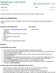 multiplication with partial products lesson plan education com