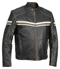 Hoodlum Vintage Leather Motorcycle Jacket With Racer Stripes