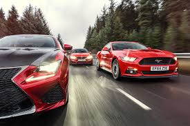lexus f sport vs luxury super coupe shoot out ford mustang vs lexus rcf vs bmw m4 car