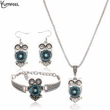 bracelet necklace earrings set images Yumfeel brand owl jewelry set tibetan vintage silver synthetic jpg
