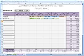 Excel Hourly Schedule Template Work Schedule Template With Shifts And Labor Costs An Excel