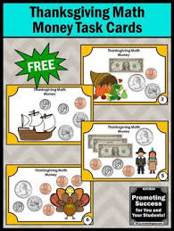 free thanksgiving math money task cards activities centers