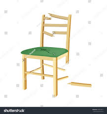 Wooden Chair Broken Wooden Chair Green Seat Stock Vector 344310017 Shutterstock