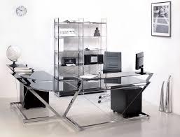 Black Glass L Shaped Computer Desk z line blaire glass l shaped computer desk in black all about